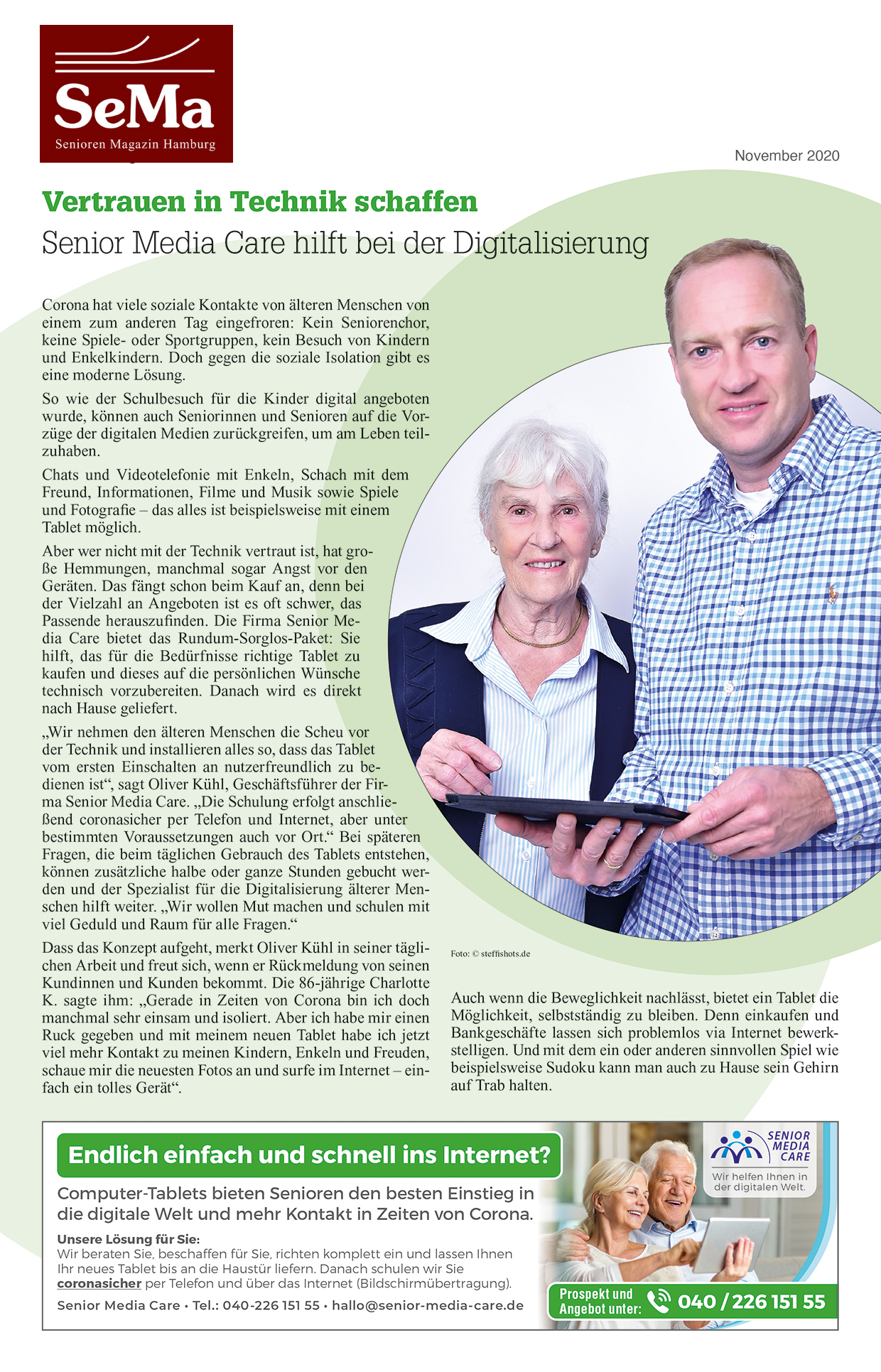 PR-Bericht Senior Media Care in der Zeitschrift Senioren-Magazin im November 2020