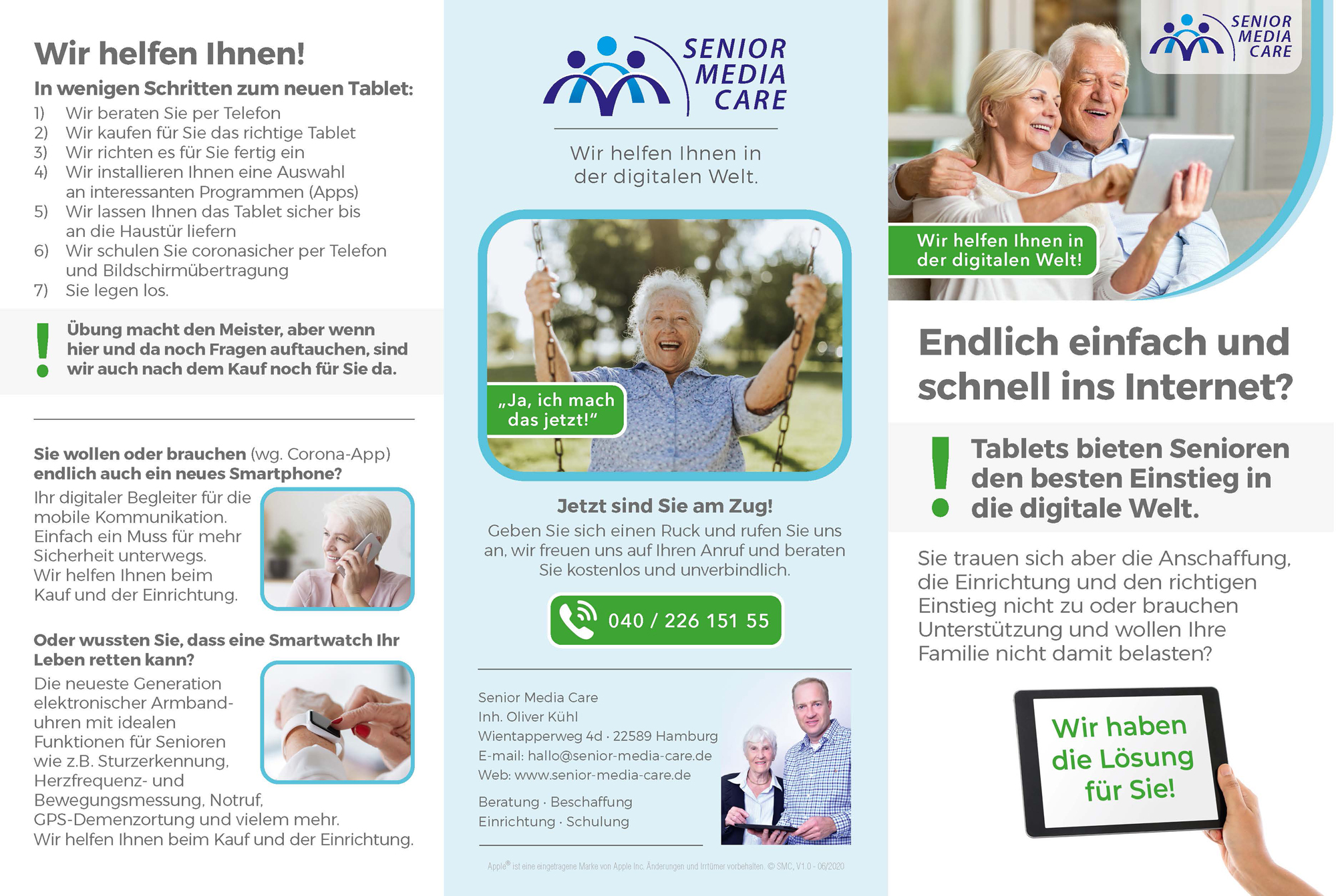 Senior Media Care Infobroschüre - Aussenseiten