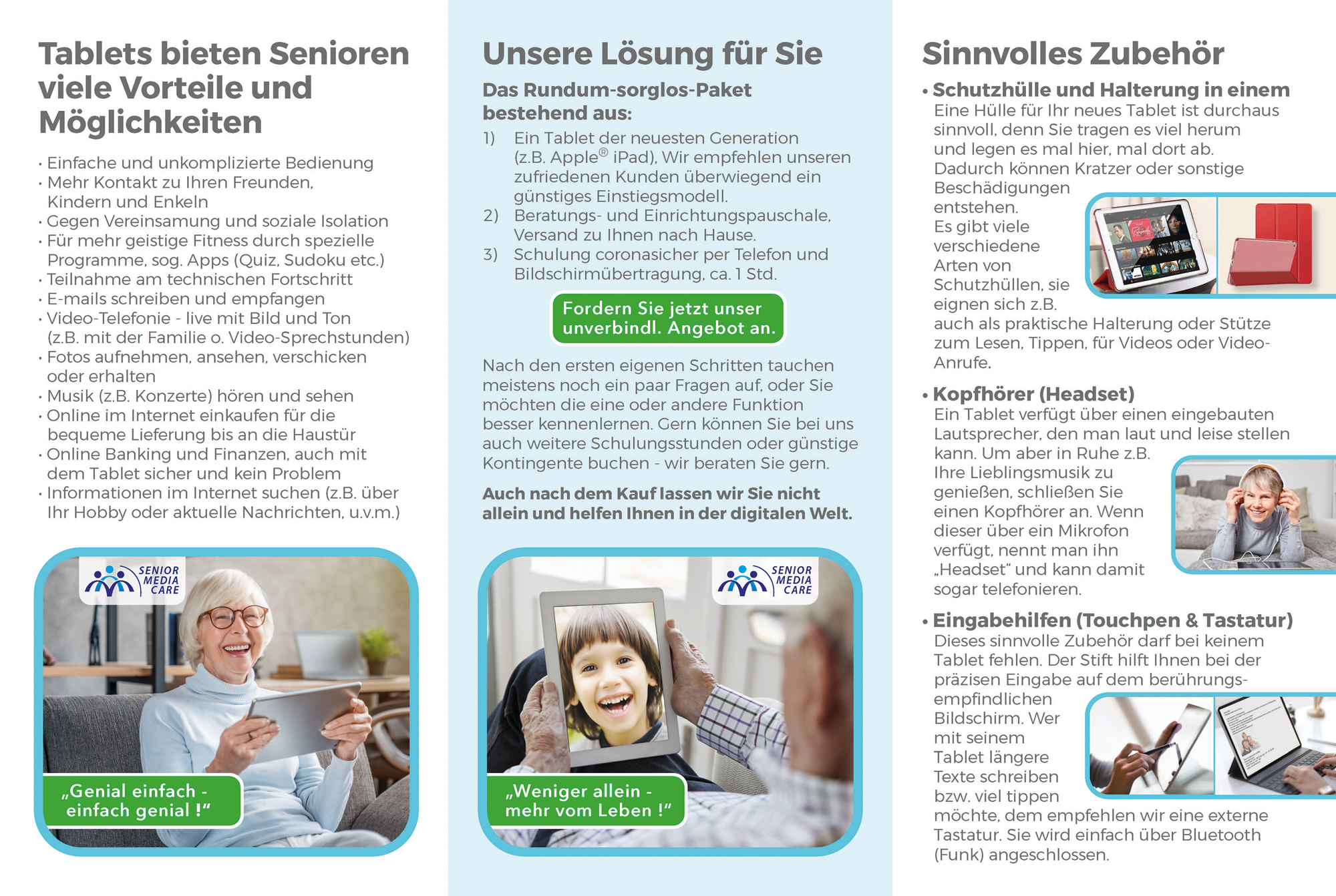 Senior Media Care Infobroschüre - Innenenseiten