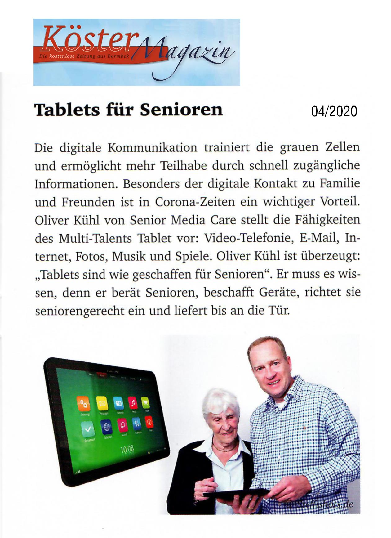 """PR-Bericht """"Tablets für Senioren"""" in der Zeitschrift Köster-Magazin"""